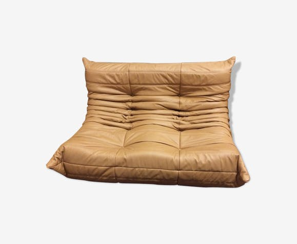 "Sofa 2 seater ""Togo"" camel leather by Michel Ducaroy for Ligne Roset"