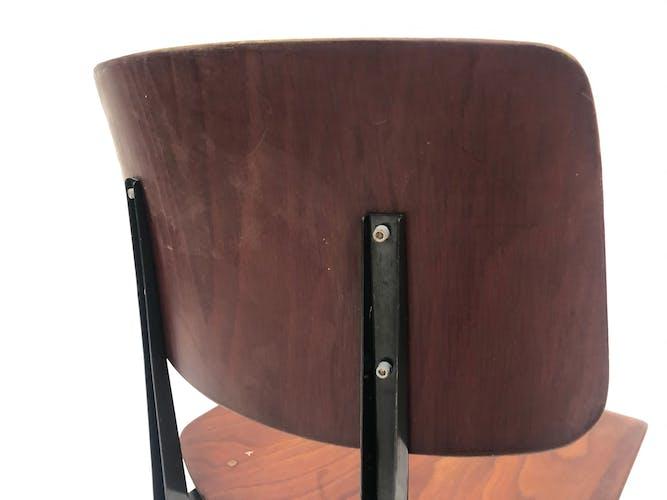 Lot de 4 chaises d'école vintage Galvanitas S16 Pays-Bas