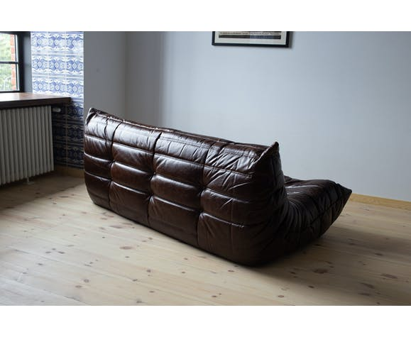 3 seater Togo brown leather sofa by Michel Ducaroy for Ligne