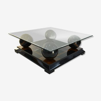Stunning italian coffee table in lacquered wood and glass top, 1970s