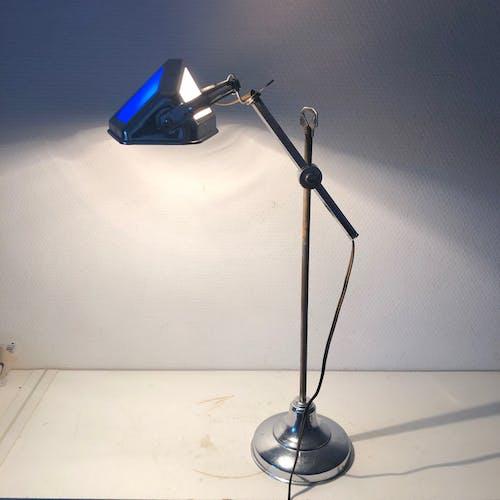 Lampe Pirouett art déco bleue chromée vintage 1930 - 46 cm