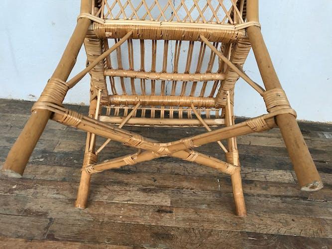 Fauteuil en rotin bambou osier 1950/1960