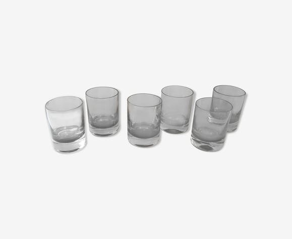 6 vintage whisky glasses in smoked thick glass