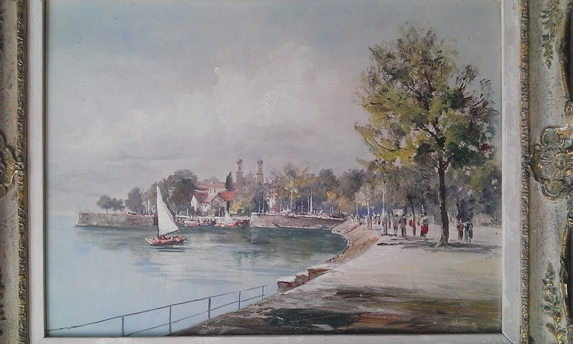 Huile sur panneau 30X40, promenade au bord du lac