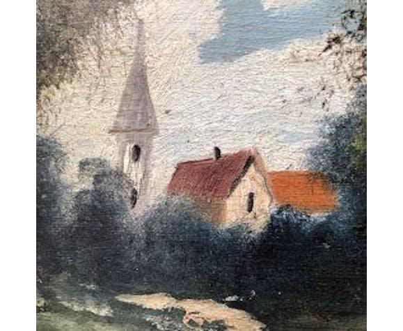 """Tableau huile sur bois """"Le village"""""""