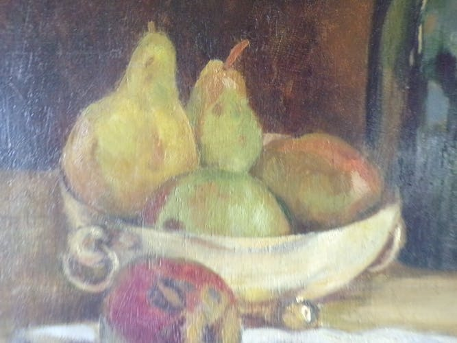 Painting Still Life oil on panel with its wooden frame