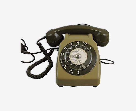 Téléphone Vintage Socotel S63 Années 80 Plastique Vert Vintage