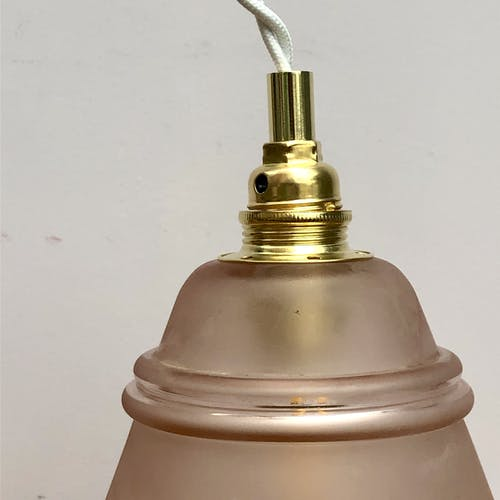 Vintage tulip hand lamp in pink frosted glass