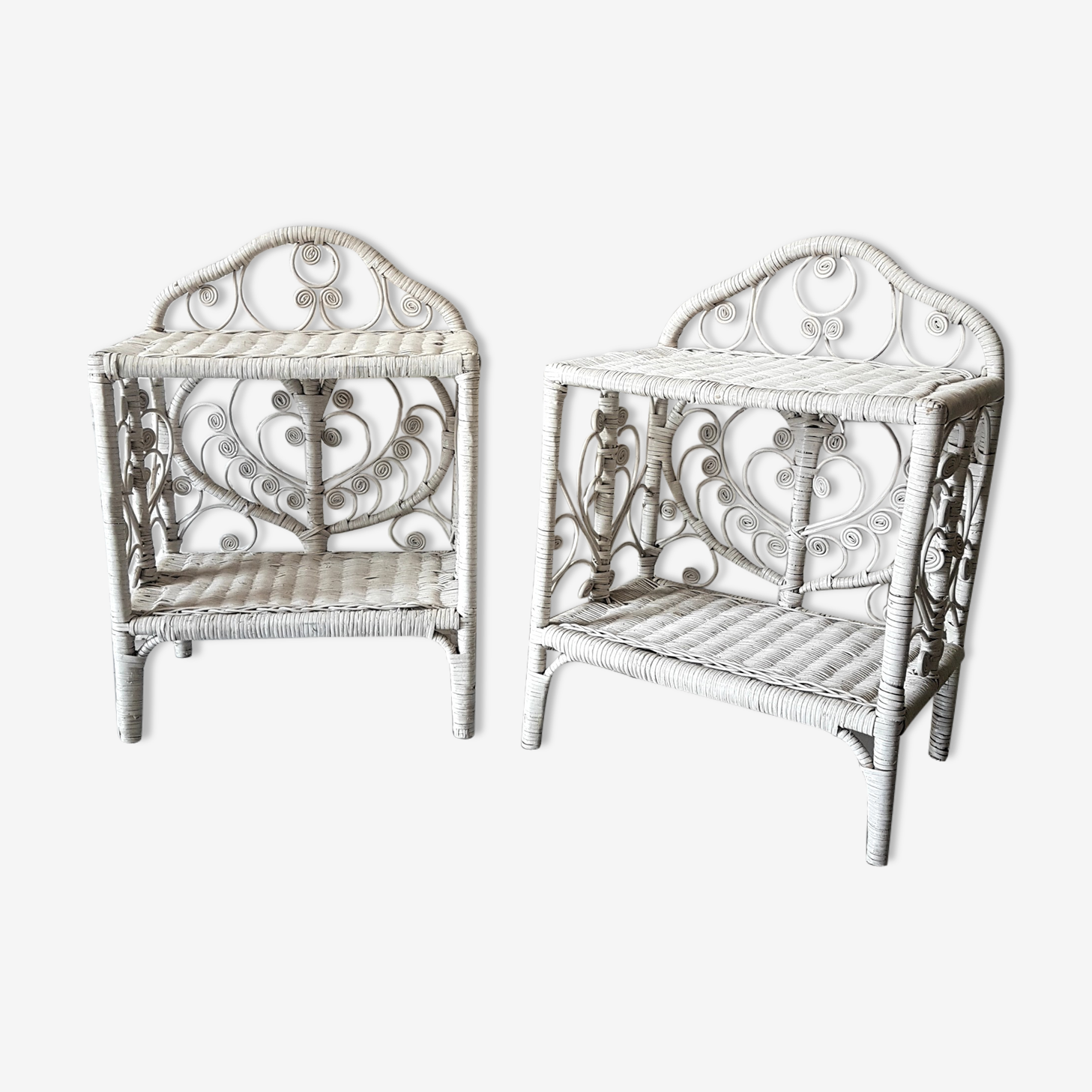 Pair of peacock bedside tables in white