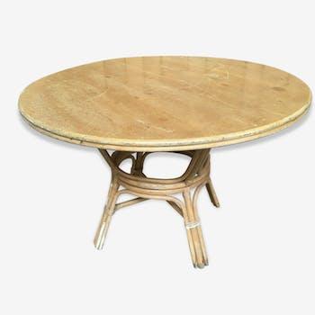 Table ronde en rotin