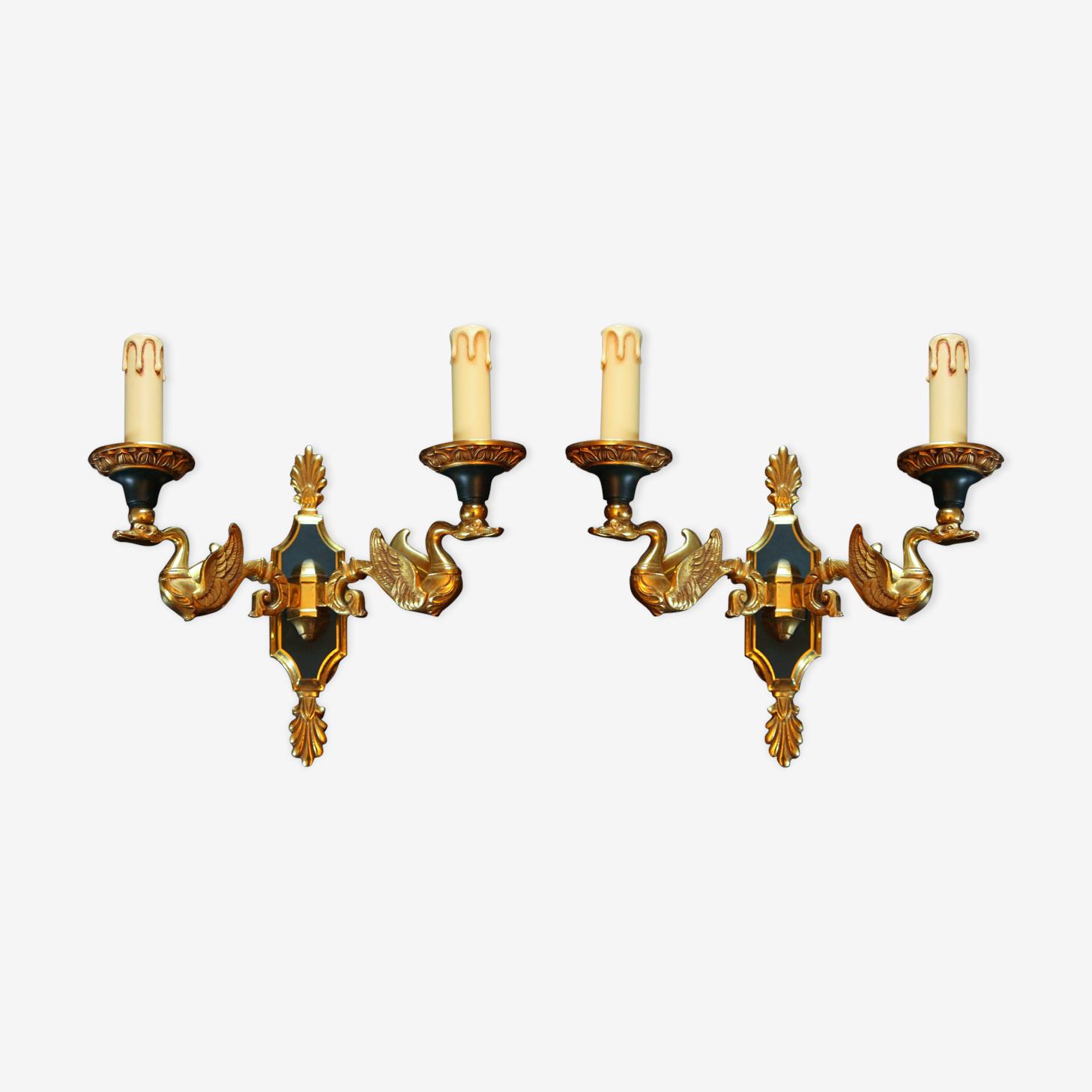 Appliques en bronze doré de style empire par Lucien Gau Paris