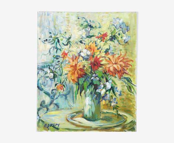 """Huile sur toile """"bouquet de fleurs"""" signée M. Delpy"""