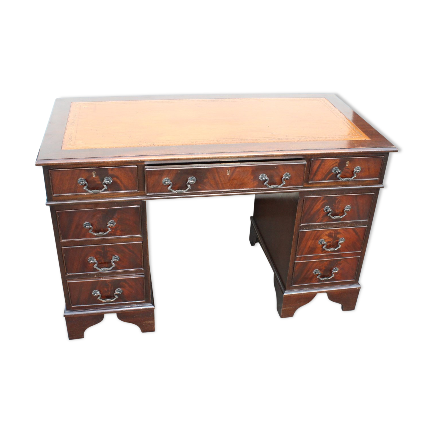 Bureau en acajou avec dessus cuir tan bois matériau marron