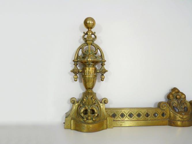 Gilded bronze fireplace bar