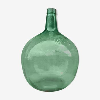 Bonbonne dame jeanne en verre vert contenance 15 litres