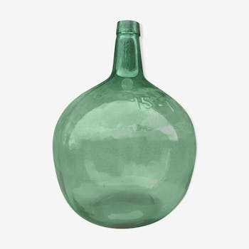Demijohn bottle in green glass, 15-litre capacity
