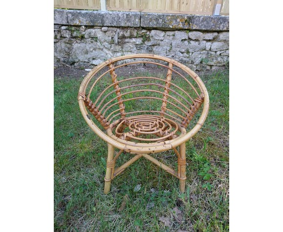 Child armchair in vintage rattan