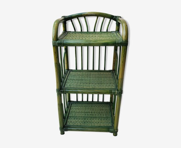 70's green rattan bedside shelf