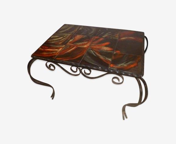 Table Forge Fer Basse Vintage Carrelage 1970 1960 Noir nw8OPk0
