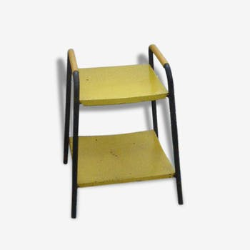 Vintage 1950/1960, black metal frame, metal table Board in yellow metal and yellow décor on the amounts in scoubidou