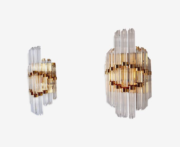 Pair wall lamp murano crystal glass and crystal transparent