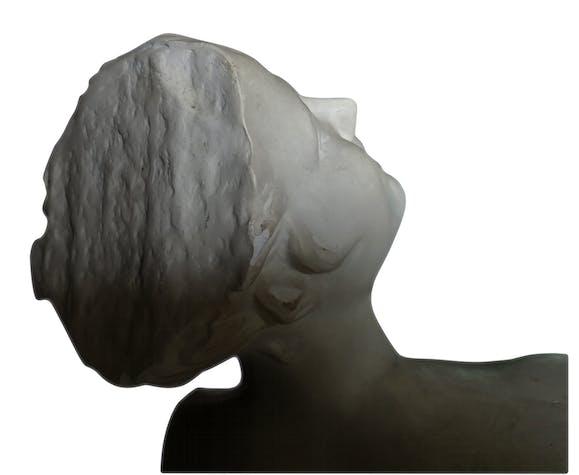 """Buste en plâtre """"Femme riant"""" 50 cm de hauteur"""
