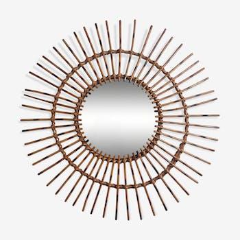 Miroir soleil vintage en rotin 60 cm