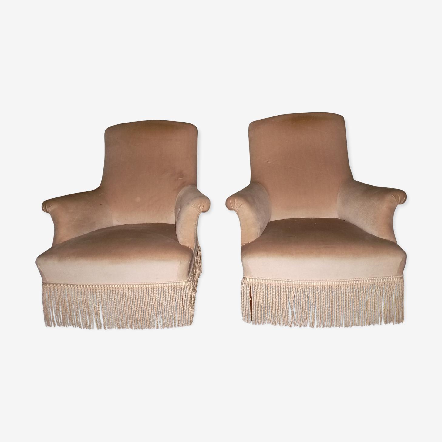 Pair of toad style Napoleon III armchairs