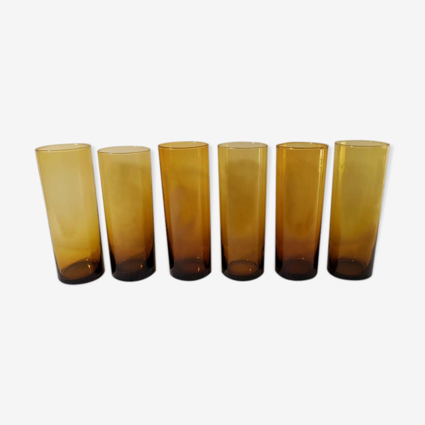 6 verres ambré en verre fin