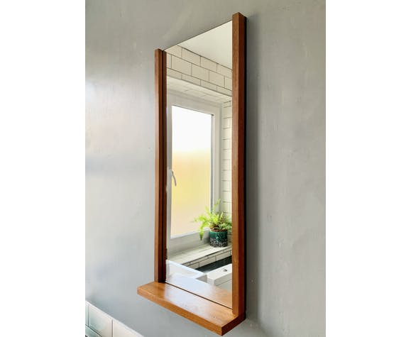 Vintage Teak Wall Mirror With Shelf Rectangular 78x34cm Selency