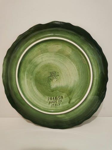 Paire de plats vintage en céramique style barbotine  italienne