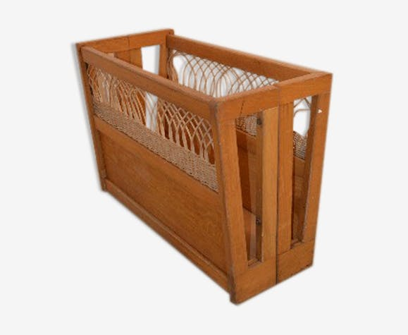 Porte-revues en bois et rotin