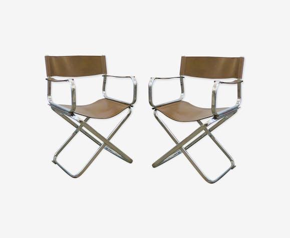 Paire de fauteuils en cuir signés Arrben