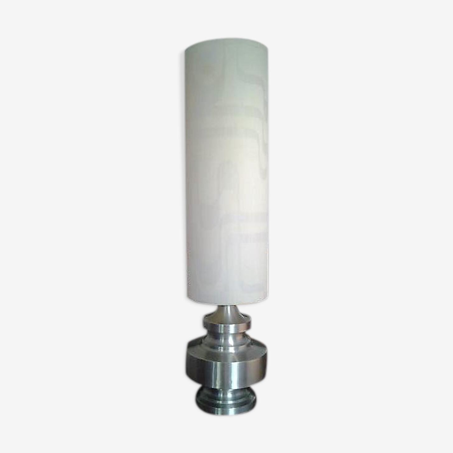 Lampe de salon design en métal brossé 1970