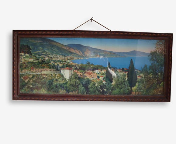 Tableau chromo - Photo panoramique colorisée - Vue de Menton