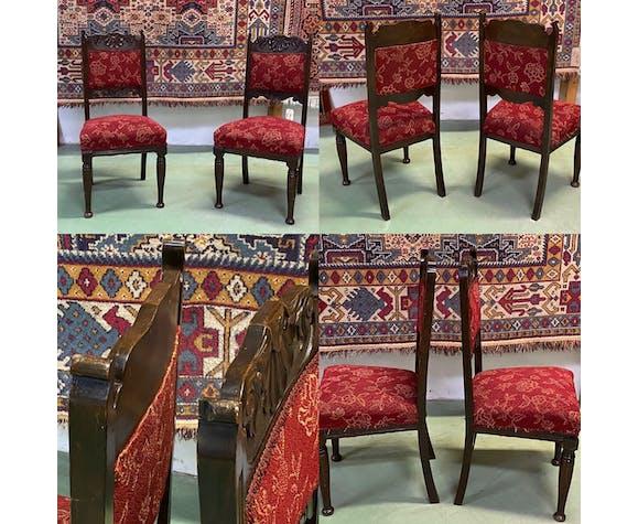 Paire de chaises anglaises Art nouveau en chêne