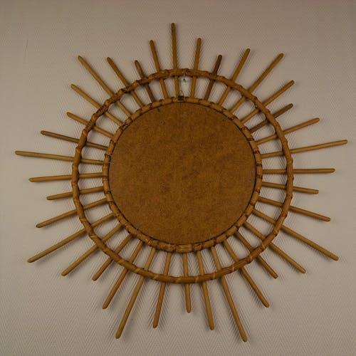 Miroir soleil en rotin vintage 80 60cm