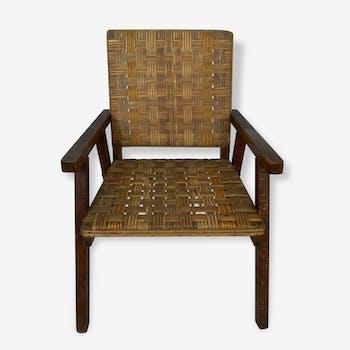 Fauteuil vintage et original bois et osier bandes naturelles et jaunes