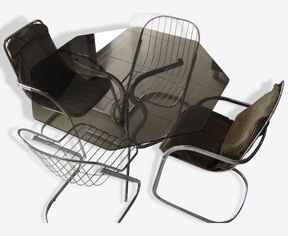 Lot de table et chaises fil métal design année 70