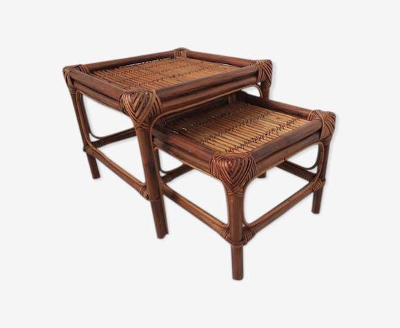 Tables gigognes en rotin bambou années 60 70