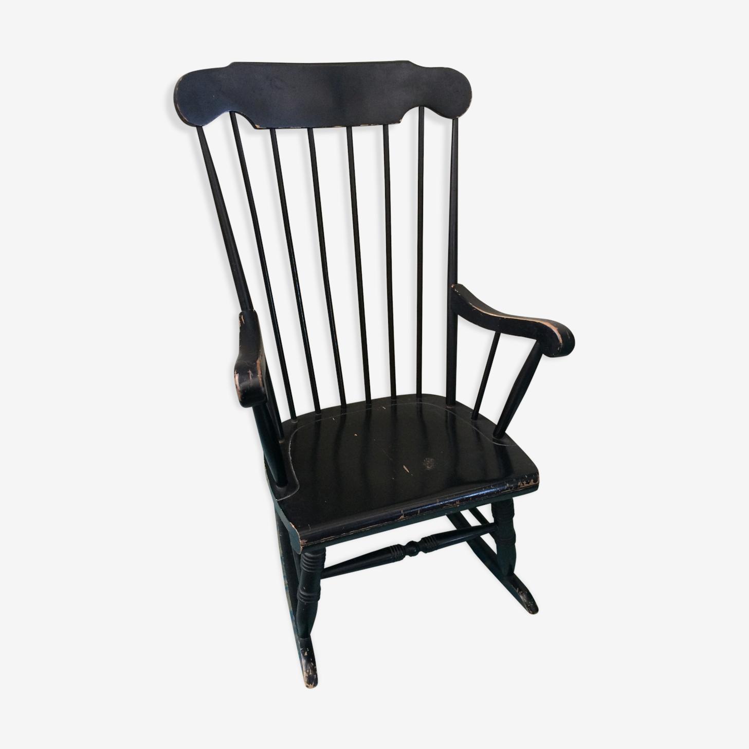 Rocking chair en bois, peint en noir, vintage 1970