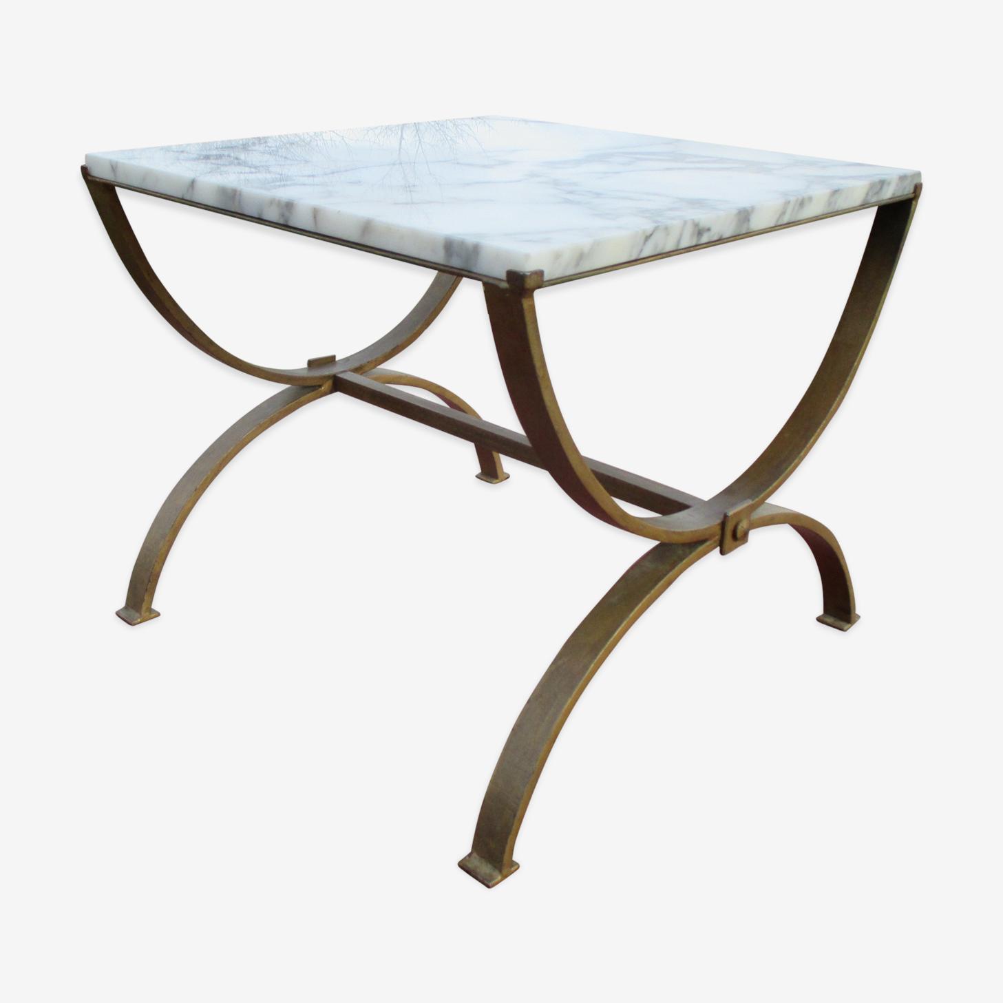 Table Basse Design Des Annees 60 70 En Marbre Fer Forge Marbre