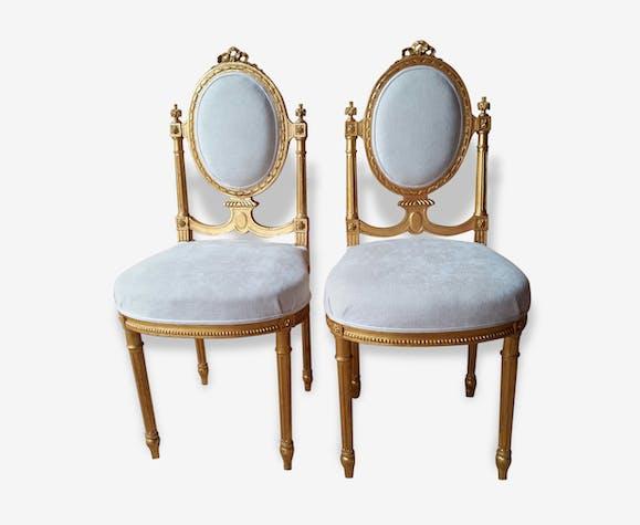 2d1fdc6596401 Chaises médaillon Louis XVI bois doré - wood - golden - classic - 119671