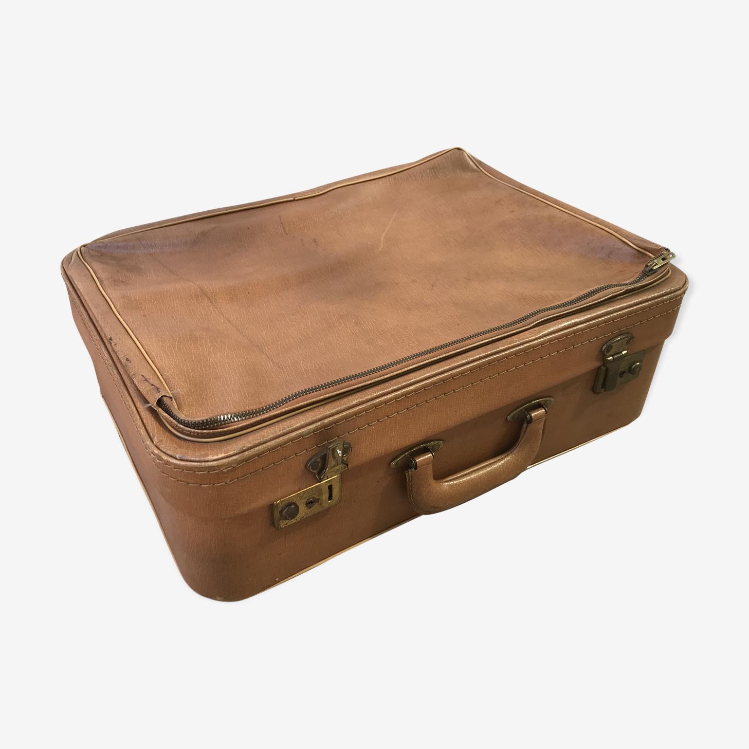 Ancienne valise cuir marron années 70 vintage