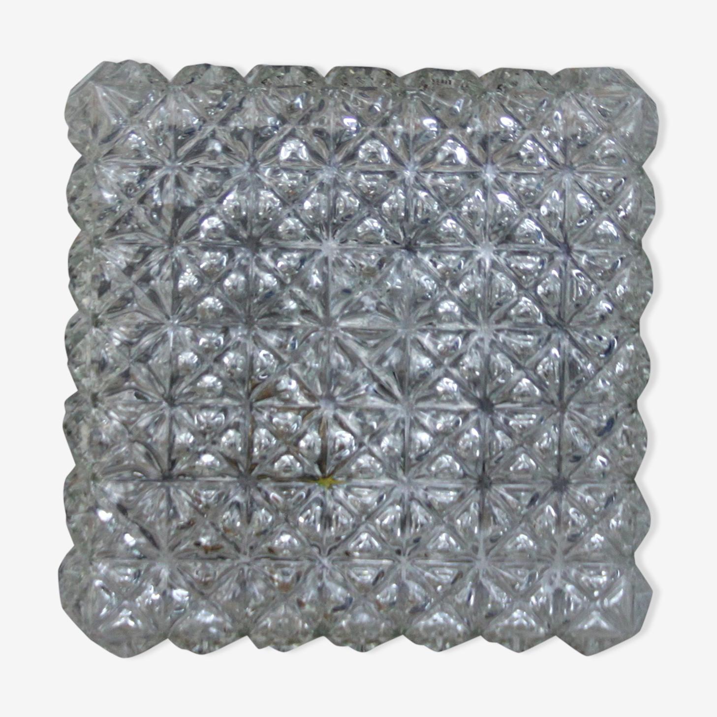 Plafonnier verre épais moulé, vintage