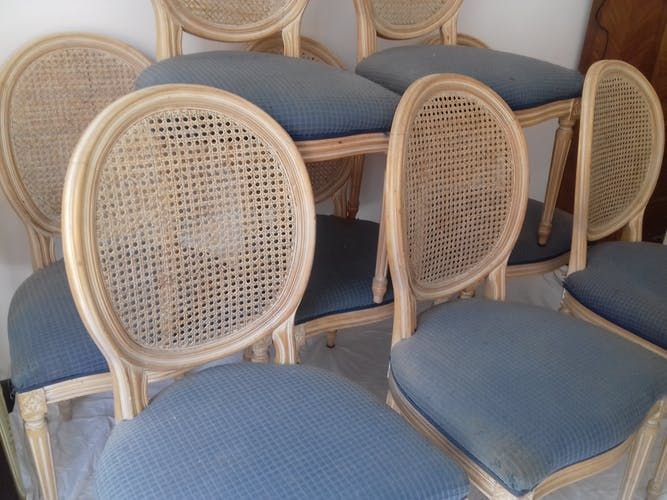 Suite of 8 chairs with medallion