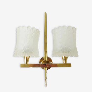 Applique double années 50 en laiton et verre 1950 vintage 50's wall light