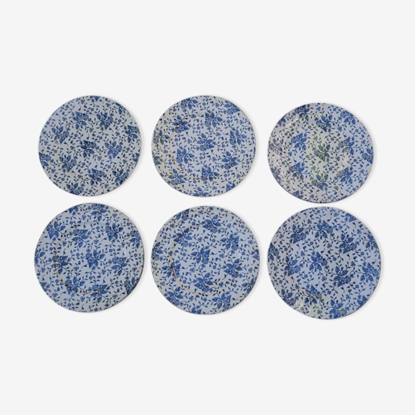 6 Assiettes plates fleurs vintage par Grindley