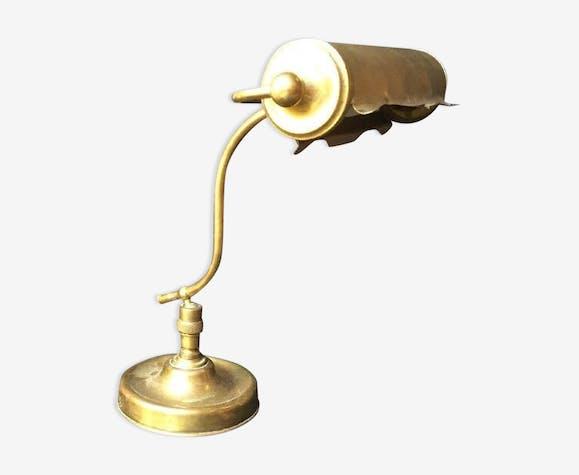 Ancienne Lampe De Bureau Art Deco Laiton Laiton Dore Classique