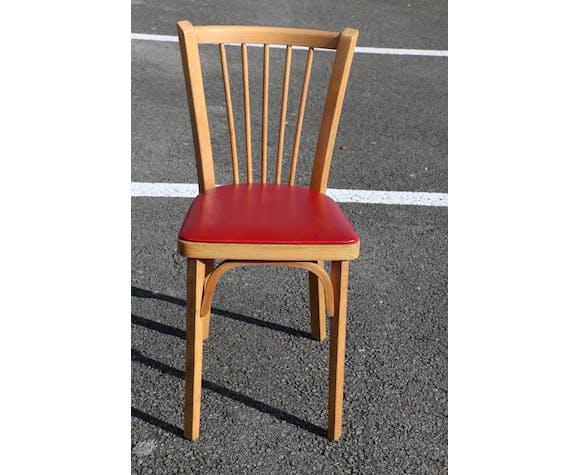 Suite de 4 chaises de bistrot Baumann années 60 N°12 skaï rouge